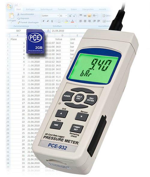 Hochbereichs - Druckmessgerät PCE-932 mit externem Drucksensor