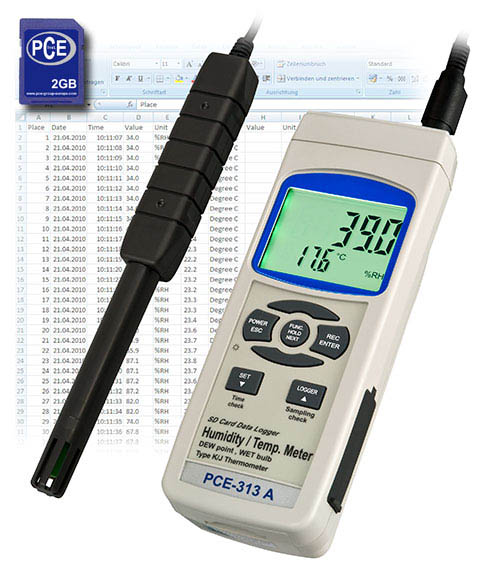 Hygrometer PCE-313A mit SD-Kartenspeicher für Langzeitaufnahme
