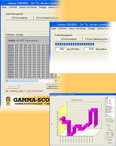 Beispiel aus der Oberfläche der Software vom Geigerzähler