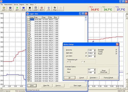 Die Software zum Hochtemperatur-Messgerät PCE-IR 1000 Serie