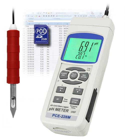 Das Lebensmittel ph-Meter PCE-228M inkl. ph-Elektrode   CPC-OSH-12-01