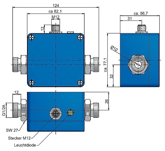 Magnetisch-induktiver Durchflusssensor Abmessung VMI 7 und VMI 10