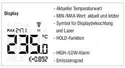 Display-Anzeigen vom Handpyrometer MS-Plus