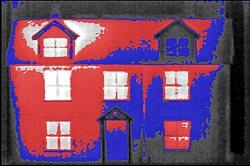 Wärmebildaufnahme einer Gebäudefassade