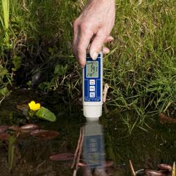 Hier sehen Sie den pH-Tester bei der pH Ermittlung von Gewässer eines Gartenteiches.