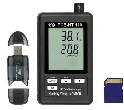 Datenlogger für Temperatur und Feuchte mit flexiblen Speicher über   eine SD-Karte (1 ... 16 GB)