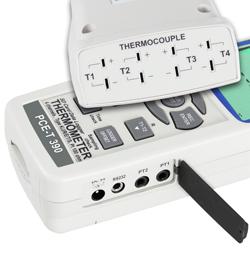 Die K-Typ, Pt100, RS232 und Netzteilanschlüsse am Temperaturmessgerät PCE-T 390