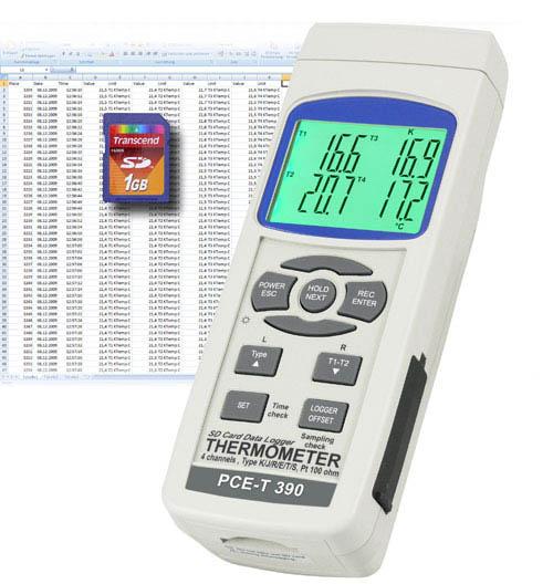Zur Langzeitaufnahme verschiedener Messstellen ist dieses Temperaturmessgerät optimal