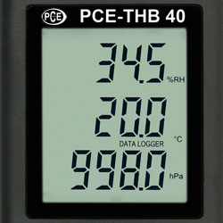 Das gut ablesbare Display des Thermo-Hygro-Barometer Datenlogger PCE-THB 40.