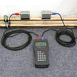 Das Ultraschall-Durchflussmessgerät bei einer Messung an einem Rohrleitungssystem