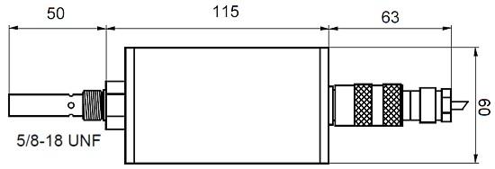 Hier sehen Sie die technische Zeichnung des Sensorkopf