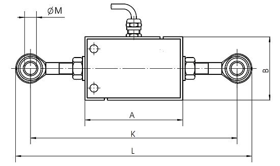 Zeichnung des Hochbereichs - Kraftmessgerät EF-AE-S-Serie mit Gelenkköpfen
