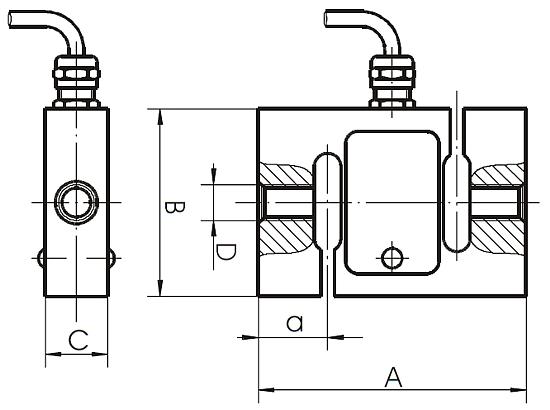 Abmaße des Hochbereichs - Kraftmessgerät EF-AE-S-Serie