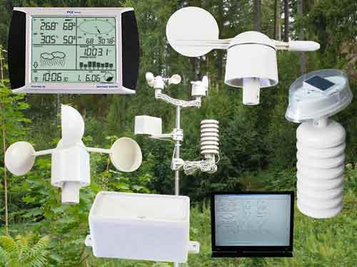 Hier sehen sehen sie die Funkwetterstation mit allen Sensoren und der Software