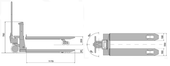 Skizze vom Hubwagen  PCE-TPWLKM mit geeichter Waage