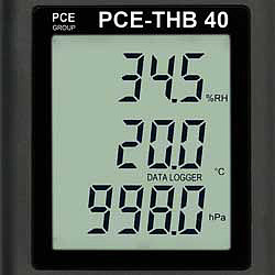 Display van de datalogger PCE-THB 40