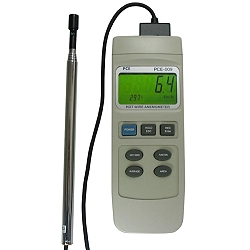 PCE-009 anemometer with RS-232 and software to measure air temperature and velocity with calculation of volume of air current.