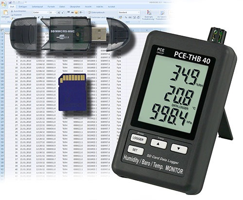 PCE-THB 40 datalogger is ideal  to detect temperature, humidity and atmospheric pressure.