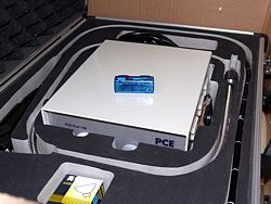 The PCE-MSR145S data logger being used in transport.