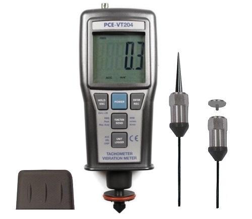 PCE-VT 204 tachometer with sensors and adaptors