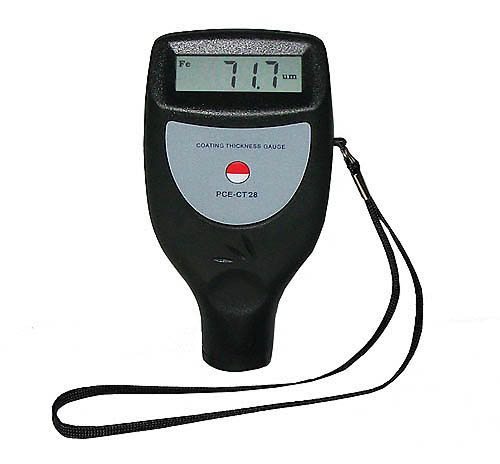 the PCE-CT 28 (F/N) thickness meter for measuring the thickness of paint and plastic on ferrous or non-ferrous materials.