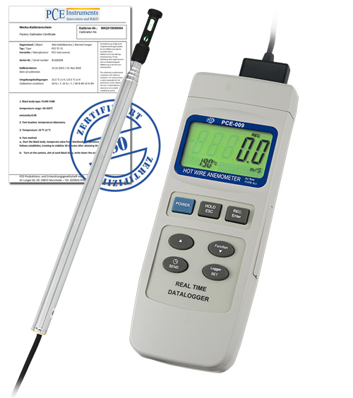 Instruments Data Acquisition : Air velocity data logger incl iso calibration certificate