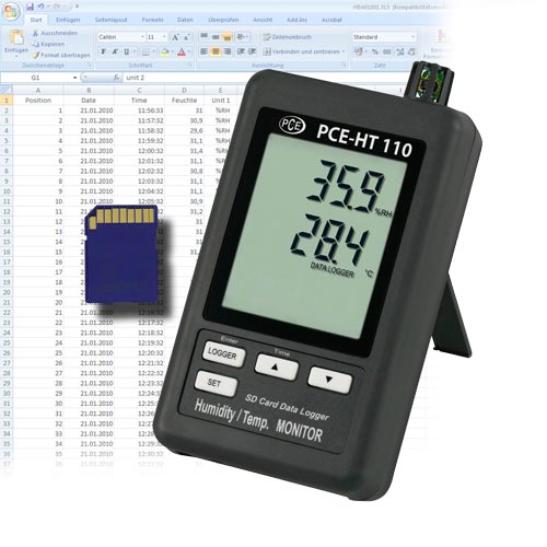 Electronic Water Meter Data Log : Humidity temperature data logger pce ht instruments