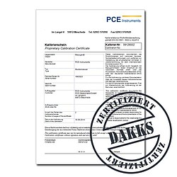 DAkkS calibration certificate for tensile/compressive force DIN ISO 376