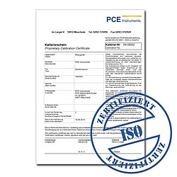 Calibration certificate for PCE-THB Series (Temperature) CAL-PCE-THB-T