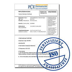 ISO Calibration Certificate for PCE-DMS Series