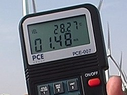 Air velocity meter PCE-007 application