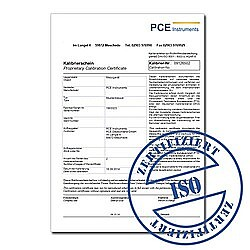 Calibration certificate for series PCE-THB (Temperature, Pressure & Humidity)