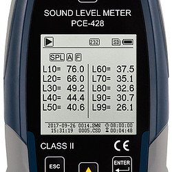 Class 2 Data-Logging Decibel Meter PCE-428 screen