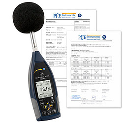 Class 2 Data Logging Sound Level Meter PCE-428 calibration certificates
