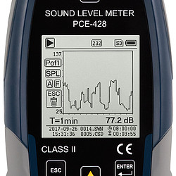 Class 2 Data-Logging SPL Meter PCE-428 screen