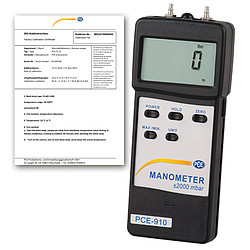 Differential Pressure Meter PCE-917-ICA Incl. ISO Calibration Certificate