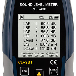 Class 1 Sound Level Data Logger PCE-430 - Display