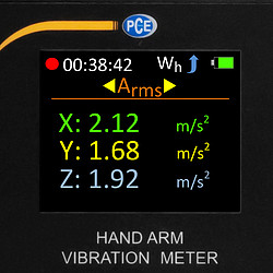 Vibration Data Logger PCE-HAV 100 display