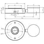 Tension Dynamometer PCE-HFG 1K-ICA Incl. ISO Calibration Certificate technical drawing