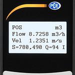 Ultrasonic Flow Tester PCE-TDS 100H display