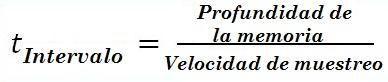 Osciloscopio: Fórmula del temporizador de intervalos entre dos muestreos
