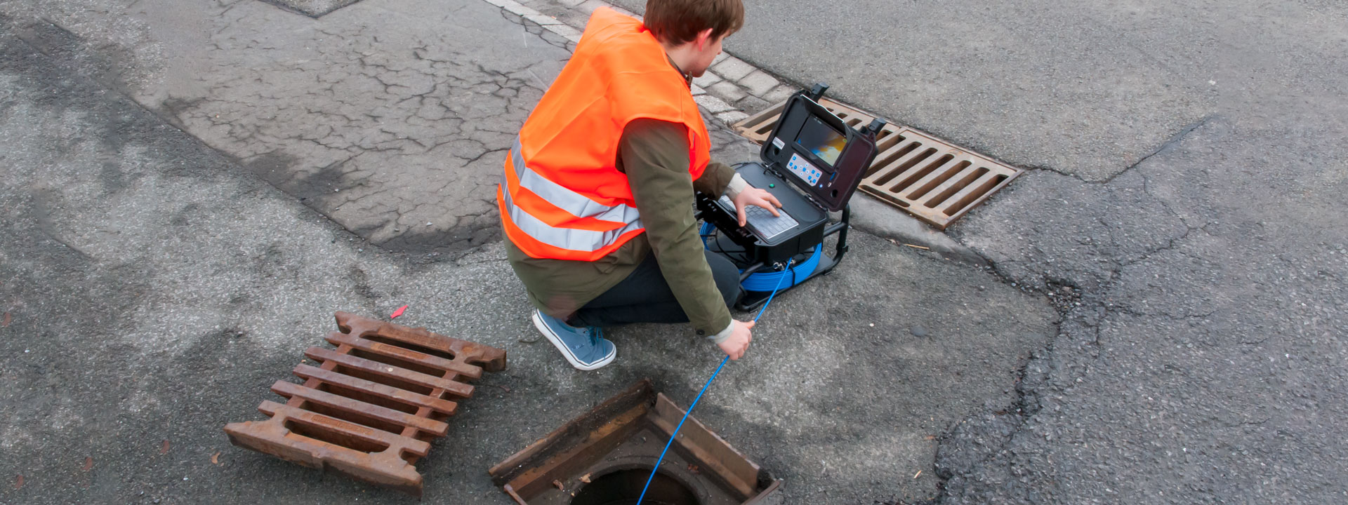 Visual inspection of an industrial duct.