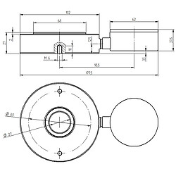 Mesureur de force hydraulique Dimensions