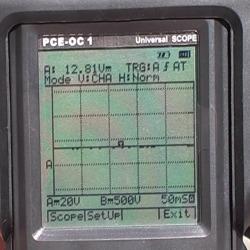 Schermo degli oscilloscopi della serie PCE con il risultato di una misura
