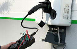 Testing of an e-charging station.