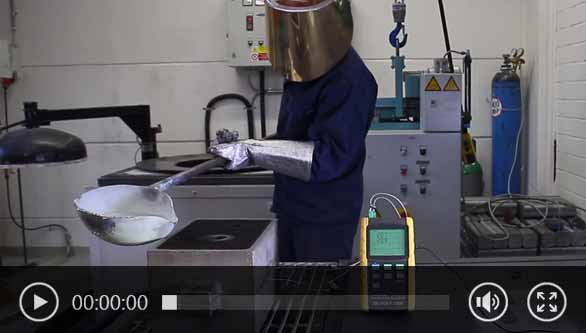 The application created video shows an experimental cast of a connecting rod of the University of South Westfalia Meschede, it is a component of a piston compressor which is used for the transmission of force between piston and crankshaft. The temperature profile of the aluminium