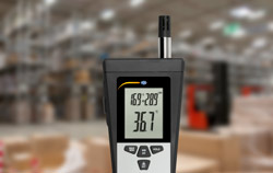 Psychrometer PCE-320 is used in the warehouse to investigate the wet bulb temperature.