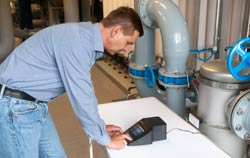 Turbidity meter in use.