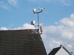 Sensors of weather stations mounted on a garden hut