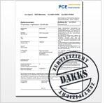 Ejemplo de certificado de calibración DAkkS para equipos de prueba